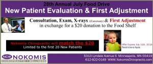 July Food Drive at Nokomis Chiropractic and Wellness