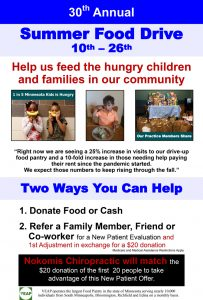 30th Annual Food Drive at Nokomis Chiropractic and Wellness in Minneapolis MN
