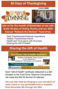 30 Days of Thanksgiving at Nokomis Chiropractic and Wellness